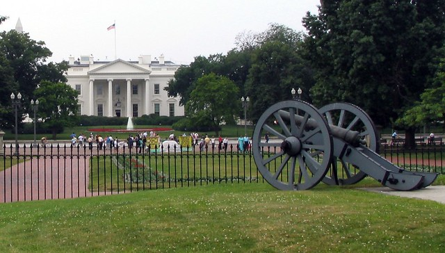 Cannon aimed at the white house