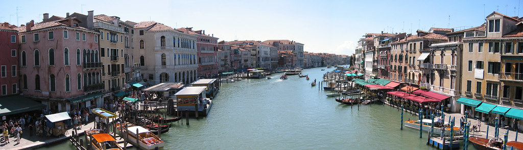 Panoramic view of the Grand Canal from the Rialto Bridge, Venice, Italy