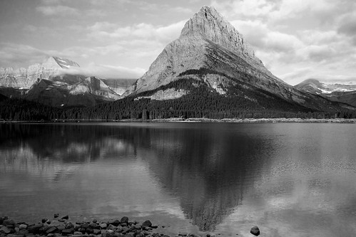 On the Shore of Swiftcurrent Lake B&W