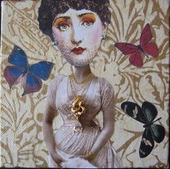 Fornasetti Girl with Butterflies (HollyLovesArt) Tags: art collage vintage mixed media squared fornasetti