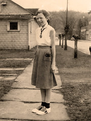 The Medallion (Sweet Freak) Tags: portrait cute sepia vintage mom skirt 1950s medallion littlegirl mutti saddleshoes