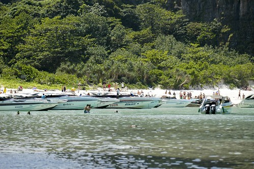 "Overcrowded Maya Bay (also known as ""The Beach"")"
