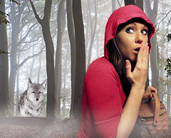 Little Red Riding Hood (*Tiny Dancer*) Tags: red mist selfportrait me girl beautiful fog fairytale forest woods bravo wolf pretty basket searchthebest surreal story riding littleredridinghood fantasy lovely schn abigfave tograndmothershouse