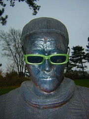 Solbriller (Ma1974) Tags: park wood sculpture man tree male green face sunglasses statue bronze denmark outdoors glasses see carved cool blind head humor monk vision prank accessories elm anthropomorphic wodden fossilization lifelessface nstved petrifaction ogt themonkshill