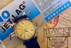 Post-HK still life (C Ray Dancer) Tags: hongkong watch medicine passport imitation patekphilippe homeopathic stillworking nojetlag whichseemedtowork 25quid