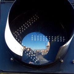 Traffic Eye (benrobertsabq) Tags: urban newmexico reflection mirror trafficlight albuquerque olympus led arrow nm trafficsignal oculus unm e500 nuevomexico landofenchantment universityheightsneighborhood