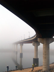 Bridge, fog, and fishermen