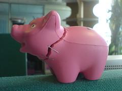 Frankenstresstoy (MykReeve) Tags: london eye work toy pig office head ear stress staples staple stresstoy detachablehead