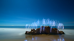 Dance (Toby Keller / Burnblue) Tags: longexposure toby lightpainting beach santabarbara night landscape keller d70 headlamp otherside hendrys tobykeller 1118mm top20longexposure burnblue aftersato
