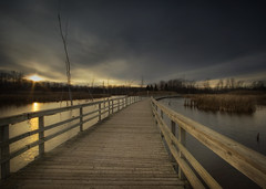 La passerelle (IrenaS) Tags: bridge sunset 20d nature canon searchthebest quebec montreal marsh 1022mm hdr ilebizard photomatix