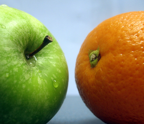 Two fruits discussing the illusion of Duality