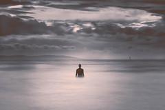 man in the sea re-edit (swolstenholme1977) Tags: crosbybeach liverpool crosby beach long exposure blackandwhite black white
