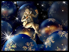 Christmas night (Martine Roch) Tags: santa christmas blue fiction light party snow night children stars fairy magical pierrot petitechose martineroch