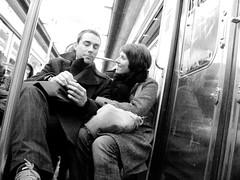 Les Amonts sur la Ligne 2, #2 (O Caritas) Tags: people bw paris france love couple europe december ledefrance mtro 2006 ligne2 nikoncoolpix8800 dscn2179 loversonline2 2006bypatricktpowerallrightsreserved