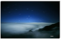Starry night - nature landscape sky blue color taiwan night clouds mountain southpoles stars hiking