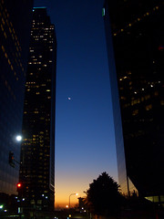 Crescent dawn (Hayden Yates) Tags: blue moon beautiful gold dawn losangeles crescent crescentmoon blueandgold sowntown