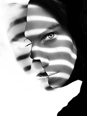 overlap (solecism) Tags: blackandwhite silhouette composite stripe stare merrychristmastoyoutoo flickrtate