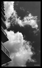 Clouds and balconies (Kentuckiana (In & Out of Flickr)) Tags: summer sky bw clouds myrtlebeach southcarolina september06 allrightsreserved abigfave