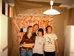 The Team (Adam Bognar) Tags: red white art yellow wall fun paint phil rebecca sweden newapartment renovation malm magnus andrewsimpson livework partycam kirseberg splatterparty weezacollectivespace