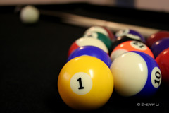 One is the Loneliest Number... (*Sherry*) Tags: blue black colors pool yellow closeup canon table 1 10 balls billiards 1855mm pooltable canonrebelxt 4aces theworldthroughmyeyes sherryli sherryxjli sherryliphoto