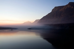 Smoke Fills the Valley (Robby Edwards) Tags: vacation lake mountains water sunrise island nationalpark montana quality glacier glaciernationalpark payitforward goingtothesunroad saintmarylake wildgooseisland specland abigfave