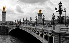 Pont Alexandre III (dees003) Tags: bridge blackandwhite bw paris france building water statue seine architecture photoshop wow river gold structure pont almost riverbank bnw touristattraction cherubs pontalexandre nymphs pontalexandreiii alexanderiiibridge historybrush architecturebnw