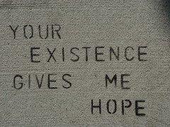 Sidewalk Stencil: Your existence gives me hope (Franco Folini) Tags: sf sanfrancisco california ca usa streetart love photography hope graffiti us stencil foto arte pavement sony urbanart sidewalk mission missiondistrict fotografia amore sidewalkart trottoir speranza marciapiede dscf707 zefrey throwell francofolini zefreythrowell folini