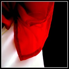 Nudo al corazn (Christine Lebrasseur) Tags: wedding red white france macro art 6x6 canon 350d topf75 veil tied vela onblack vende 500x500 interestingness76 vouilllesmarais establecida potwkkc9 allrightsreservedchristinelebrasseur