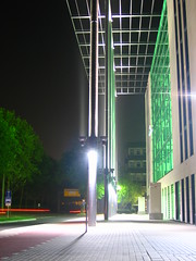 office building rheinlanddamm (TabascoEye) Tags: building green night lights dortmund b1