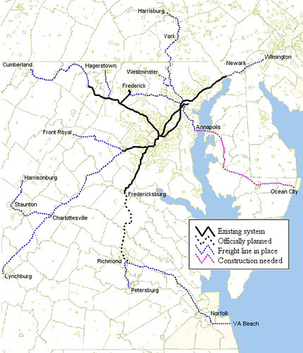 Railroad system Washington-Baltimore region
