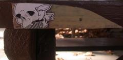 flyer (abandonview) Tags: street art skull graffiti aged nailed abandonview