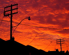 Sunset Lamppost (Musical Mint) Tags: sunset red sky toronto colour silhouette night bright lamppost musicalmint