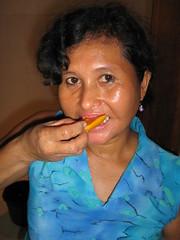 Ana enjoys a mango in Seminyak Bali (balilogue) Tags: bali lunch bintang seminyak
