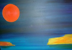 Painted red sun on a blue background