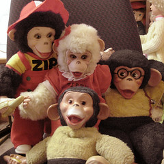 Zippies & Tippies Oh My! (CORALDAWL) Tags: old vintage toys dolls rubber retro plush stuffedanimals nostalgic monkeys zippy 1970 1950 tippy monkies 1960 plushes