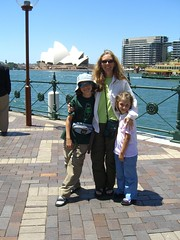 Caleb, Meta and Anna near the Opera House in Sydney