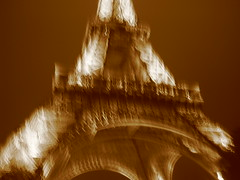 Eiffel Tower, sepia, blurred
