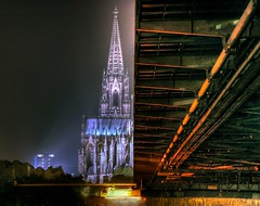 Der Klner Dom / Cologne Cathedral  and Hohenzollernbrcke (Hans van Reenen) Tags: bridge night germany puente deutschland dom cologne eisenbahn railway kln fav20 pont brug brcke fav30 rhine rhein hdr rijn railwaybridge klnerdom colognecathedral keulen spoorweg spoorbrug hohenzollernbrcke fav10 ponticello  skyarchitecture abigfave 20060916