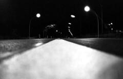Columbiadamm (mritz_p) Tags: road berlin abandoned night nacht empty leer more duster lanterns hp5 lonely strae markings dunkel 400asa verlassen darkly roadway einsam laternen fahrbahn nikonf601 markierungen fahrstreifen drivingtouch