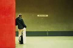 Waiting (It's Stefan) Tags: red people urban woman topf25 girl lines station linhas germany interestingness waiting metro geometry transport tube streetlife explore hauptbahnhof stop ubahn nrw lonely masstransit bochum stazione gomtrie ruhr ruhrgebiet lignes haltestelle  parada geometria nonluoghi lonesome ruhrarea  nonplace ruhrpott lneas arrt linien  nonlieux explored   backsight  localtransport cotcbestof2006 ruhrbasin  stacin ffntlicherpersonennahverkehr pv    stefanhoechst