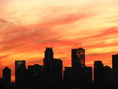 Minneapolis sunset (Mazda6 (Tor)) Tags: sunset red minnesota clouds buildings downtown cityscape flames minneapolis parkway tall ridgeway