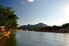 Vang Vieng (makingacross) Tags: laos pdr nikon d3000 vang vieng vangvieng mountains sky trees water nam song river namsong