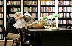 Morning reading (ido1) Tags: life news reading book israel newspaper store telaviv time books read easy stillness dizengof