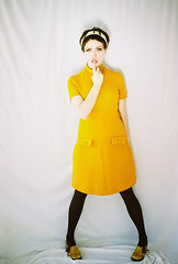 Stop! (Karla Jean Davis) Tags: fashion yellow vintage model 60s highkey twiggy vintagedresses karlajeandavis