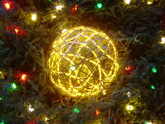Daley Plaza Christmas Tree: Yellow Ornament (laffy4k) Tags: christmas winter light holiday chicago closeup lights holidays decoration 2006 christmastree christmaslights ornament christmasdecorations christmasdecoration daleyplaza christmastreeornament november2006 daleypark