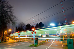one night out (frischmilch) Tags: longexposure light lines night train dark lights crossing nightshot traffic time nacht cologne rail railway midnight rails moonlight kvb railroadcrossing langzeitbelichtung longaftermidnightdelete12 holweide abigfave ci33 submittedtogetty artistpick091114 gettyimagesgermanyq1