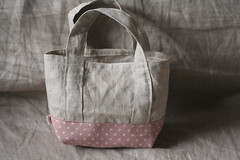 Linen loves polka dots (with.my.hands.) Tags: japan canon bag eos kiss handmade linen polkadots cotton tamron 90mm tote  zakka tezukuri  digitaln