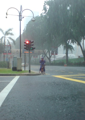 cyclist in the rain