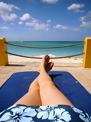 This is the Life! (Musical Mint) Tags: ocean trip travel blue summer vacation woman sun holiday beach water girl yellow clouds relax island perfect paradise view legs skin dream relaxing carribean bluesky resort aruba suntan musicalmint