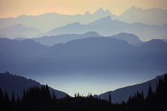 View from Mt Webb close to Chilliwack Lake at sunset
